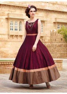 Ready -Made Ethnic Wear Maroon Tapeta Silk Gown - Liza02