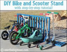 Bike Scooter Stand DIY Bike and Scooter Stand for your Garage...