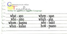 Tagalog - learning basic vocabulary