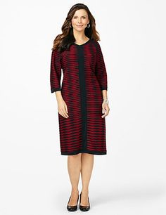 Modern Slim Dress: We designed this dress to be the most slimming style in your wardrobe. Raised textured fabric flatters your figure, while a solid banded design lengthens your look at the center. V-neckline. Three-quarter sleeves. catherines.com #catherines #plussizefashion #plussizedress #fallstyle