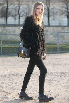 furry fab. Tilda #offduty in Paris. #TildaLindstam