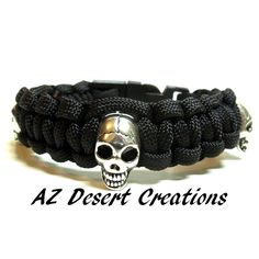 Skull Black Paracord Survival Bracelet Survival Gear Handmade | DesertCreations - Jewelry on ArtFire