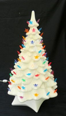 "Vintage Ceramic Lighted Christmas Tree on Base 19"" Tall White Star Lights"
