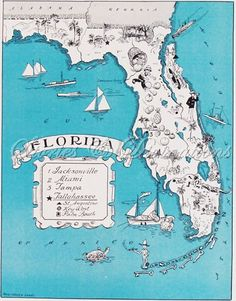 Fun+Florida+Map++Vintage+Map+of+Florida++by+StoriesDivinations,+$21.00 ( I LOVE FLORIDA... THE GULF COAST IS MY ABSOLUTE FAVORITE- as you could probably tell by my other pins! It's just a very special & familiar place to me, kind of my tropical home ~ Ljb:)