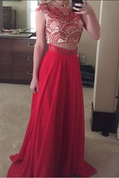 Beaded prom dress, two pieces prom dress, beautiful red chiffon prom dress for teens