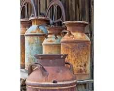 Rustic Photography, Kitchen Decor, Farmhouse Old Milk Cans Kitchen Wall Art, Country Decor, Neutral Country Wall Art, Country Decor, Kitchen Wall Art, Kitchen Decor, Rustic Kitchen, Kitchen Ideas, Photo Fixer, Old Milk Cans, Native American Baskets