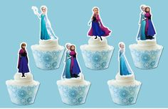 12 x EDIBLE Elsa and Anna Princess Cupcake Cake Toppers PRE-CUT -- SUPERB BEST OFFER! : Baking decorations