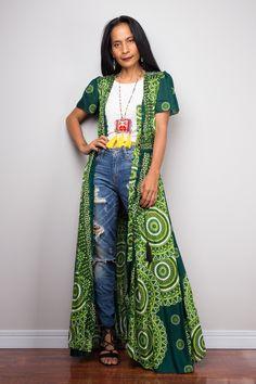 Green Boho Duster Dress | Bohemian Garden Party Dress | Smocked Waist Shirt Dress with short sleeves | Gypsy duster Duster Dress, Open Dress, Denim Ideas, Boho Green, Smock Dress, Holiday Outfits, Short Dresses, Dress Long, African Fashion