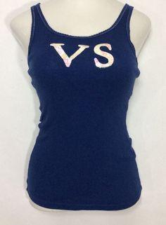 Womens VICTORIA'S SECRET Purple Tank Top  / Cotton Stretch Sequenced Shirt (M) #VictoriasSecret #TankCami #Casual