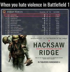 When you hate violence in battlefield 1