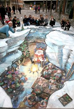 Santa 3D Chalk Art