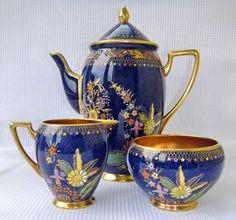 Carlton Ware PERSIAN GARDEN 3892 MELON shape coffee pot, milk & sugar.