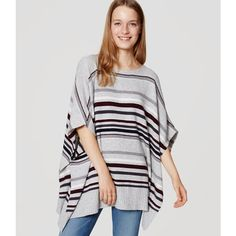 LOFT Striped Poncho Sweater ($90) ❤ liked on Polyvore featuring tops, sweaters, ripened plum, striped boatneck sweater, boho sweater, poncho style sweater, boat neck tops and dolman sleeve tops