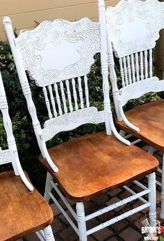 chalk painted oak pressed back chairs