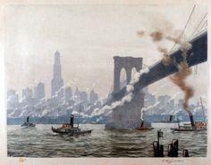 Under the Brooklyn Bridge, New York (1927) by Tavik František Šimon (Czech 1877-1942)....coloured etching