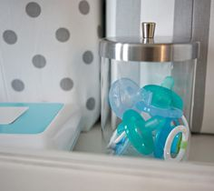 10 Ways To Quickly Get Organized With Baby | Cute Pacifier Storage, genius clothing storage