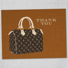 Orange Louis Vuitton illustrated Thank You Cards Set by funvites,