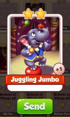 Juggling Jumbo Card - Circus Set - from Coin Master Cards - Tassie Books Game Cards, Card Games, Electronic Cards, Sale Purchase, Online Games, Coins, Messages, E Cards, Rooms