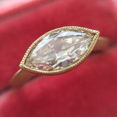 Antique marquise Cut Diamond Bezel Ring GIA L, - Jewels by Grace Marquise Ring, Marquise Diamond Settings, Marquise Cut Diamond, Diamond Cuts, Bezel Ring, Pendant Design, Gold Hands, Diamond Pendant, Ring Designs