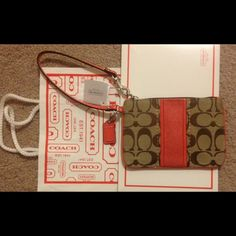 "SALE!!! NWT Coach coral purse/wristlet SALE!!!!! NWT Coach coral & khaki colored purse/wristlet with coral leather trim. Measures approx 6.5"" in length and 4.5"" in height Coach Bags"