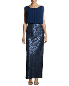 Combo Chiffon and Sequined Column Gown