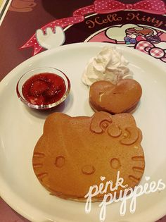 Hello Kitty's Kawaii Paradise Pancake Party, Hello Kitty, Kawaii Dessert, Kitty Party, Japan Trip, Cookie Jars, Gingerbread Cookies, Food Art, Sweet Recipes