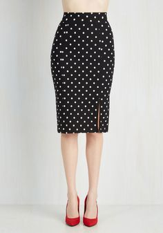 Work Day Darling Skirt in Black. Even Monday morning meetings become fun when you flaunt this polka-dotted pencil skirt! #black #modcloth