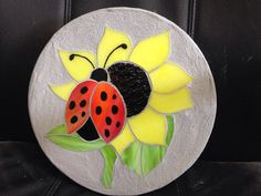 Ladybug sunflower stained glass mosaic garden by StepsInStone Mosaic Flower Pots, Mosaic Pots, Mosaic Diy, Mosaic Garden, Mosaic Glass, Stained Glass Flowers, Stained Glass Patterns, Mosaic Patterns, Stained Glass Art