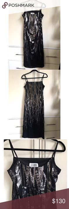 MM6 Maison Martin Margiela black slip dress Super cool black slip dress with silver foil patterns. Could be casual and dressy. This is a size medium but looks great on small too. No flaws. MM6 Maison Martin Margiela Dresses Midi