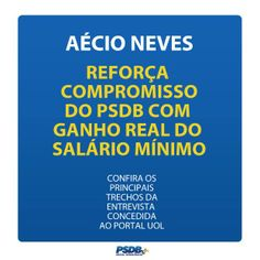 Aécio reforça compromisso do PSDB com ganho real do Salário Mínimo. #AécioNeves #OBrasilTemJeito