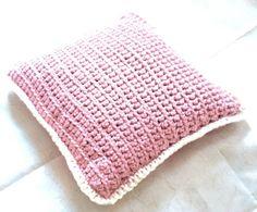 Crochet pillowcase, white & old pink