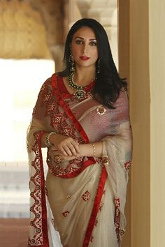 Princess Diya Kumari of Jaipur wearing Half White Net Saree