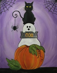Join us at Pinot& Palette - St. Petersburg Studio on Sat Oct 2016 for Halloween Spooks. Seats are limited, reserve yours today! Halloween Canvas Paintings, Fall Canvas Painting, Halloween Painting, Autumn Painting, Autumn Art, Canvas Art, Fall Paintings, Halloween Window, Halloween Rocks