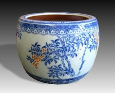 Japanese Blue-and-White Porcelain Hibachi or Jardiniere