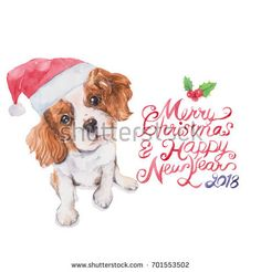 Dog card, watercolor painting on white background. Chinese calendar, zodiac. Symbol of 2018 New Year.