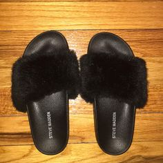 676e8a227904 Shop Women s Steve Madden Black size 6 Slippers at a discounted price at  Poshmark.