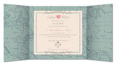 Einladungskarte Hochzeit Vintage Weltkarte (RFE-507)