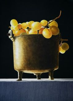 "Ottorino De Lucchi: title unknown [receptacle of white grapes]; watercolour on paper. ""Amazing to me that this is a watercolour! This is control of watercolour in rendering realism, to the max!"" <3"