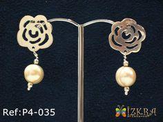 P4-035] Aretes en plata calada con perla » Aretes de Izkra Artesanos