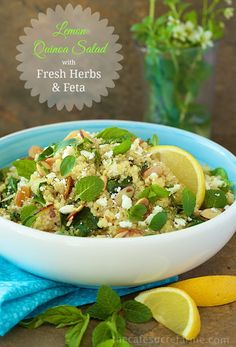 Craving something fresh, healthy & delicious that will give you lots of energy? Here you go! Lemon Quinoa Salad w- Fresh Herbs & Feta