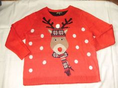 cba95fb42b2b65 Womens 3X Rudolph Red Nosed Reindeer Jingle Bells Ugly Christmas Sweater |  Clothing, Shoes &