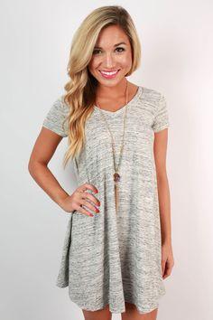 Venice V-Neck Tunic Dress in Grey