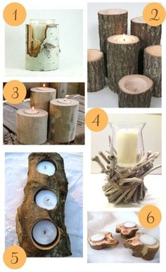 Candle holders by aubrey.cade.3 - driftwood twigs logs birch trees