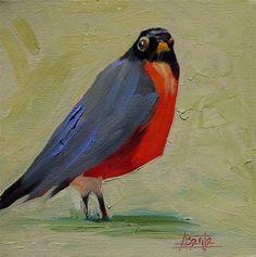 """Red Breast"" - Original Fine Art for Sale - © Bente Hansen"
