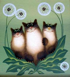 В ОДУВАНЧИКАХ КОТЫ... Художник Александр Зотов |The Dandelion CATS by artist Alexander Zotov♥♥