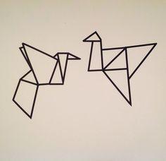 Birds with washi tape. Black. Diy