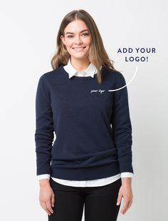 The Women's Crew Knit in navy is the ideal layer item that is light enough to be worn much of the year, yet heavy enough to add warmth Staff Uniforms, Work Uniforms, Corporate Style, Corporate Fashion, Uniform Shop, Uniform Design, Office Looks, Work Wear, Long Sleeve Shirts