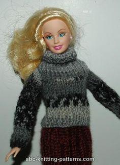 ABC Knitting Patterns - Barbie Turtleneck Sweater- Free Knit Pattern