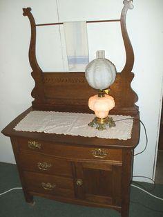 Antique Oak Washstand Dresser W Towel Bar 36 Commode Made Usa