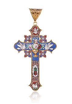 jewlery crosses | William Noble | Estate Jewelry | Crosses | ITALIAN MOSAIC CROSS